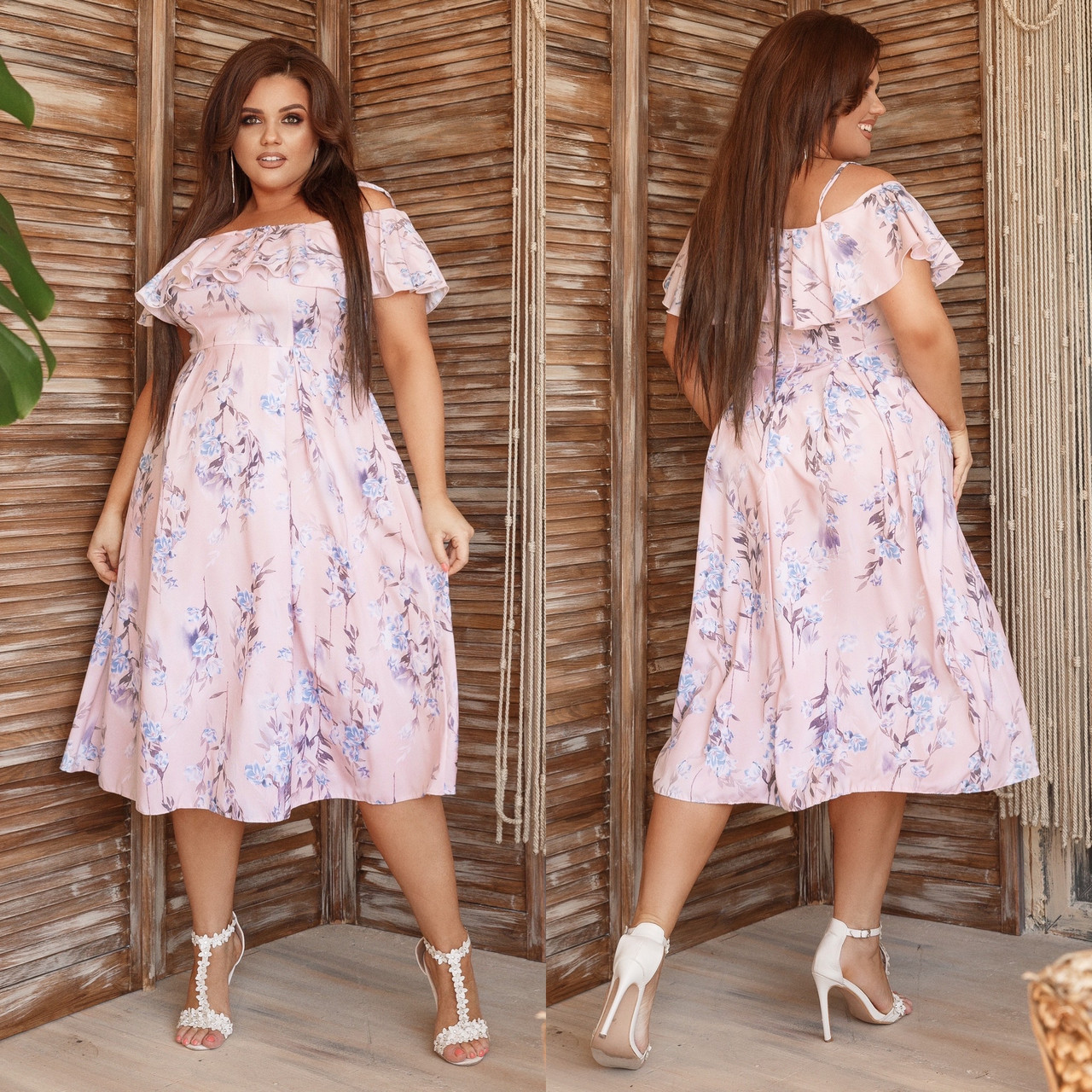 Платье летнее на бретелях с воланом на груди больших размеров Платье с воланом на запах большого размера. Платье с воланом на бретелях большого