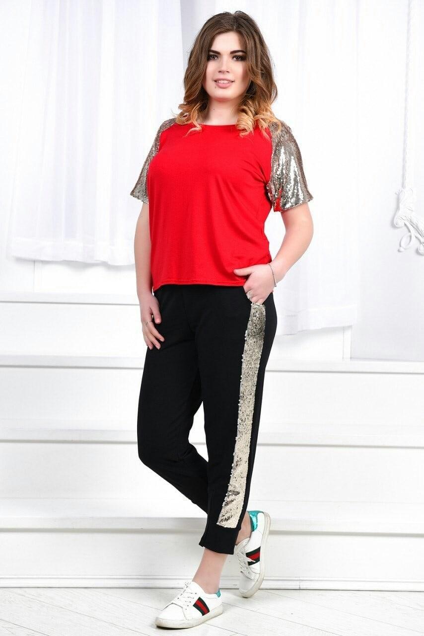 Прогулочный костюм Батал. Костюм летний брюки футболка большого размера. Летний женский костюм футболка капри больших размеров . Летний костюм