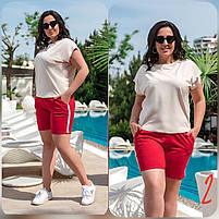 Женский костюм летний футболка с шортами большого размера (Батал). Летний костюм с шортами большого размера. Женский летний костюм большого размера, фото 5