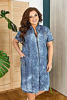 Платье с коротким рукавом на молнии джинсовое, Платье Джинс котон большого размера, Летнее платье Джинс котон большого размера, Стильное летнее платье, фото 2