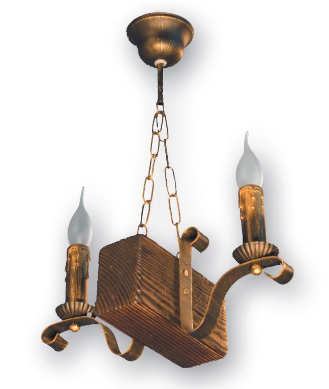 Люстра на цепи бревно для бара на 2 свечи 130922