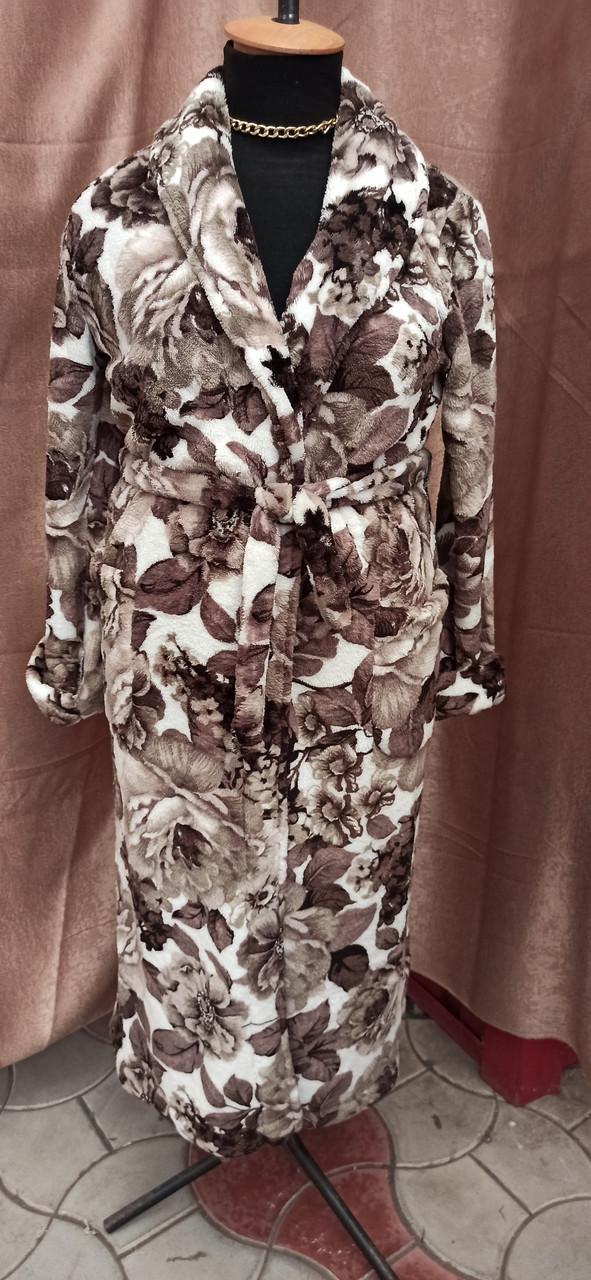 Длинный махровый халат на запах шаль Большого размера Цветы Коричневый