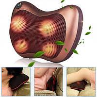Роликовий масажер для спини і шиї, Універсальна масажна подушка з підігрівом на 8 масажних роликів