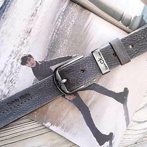 Мужской кожаный ремень Calvin Klein реплика Серый