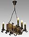 Люстра для кафе деревянная на 6 свечей 130926, фото 2