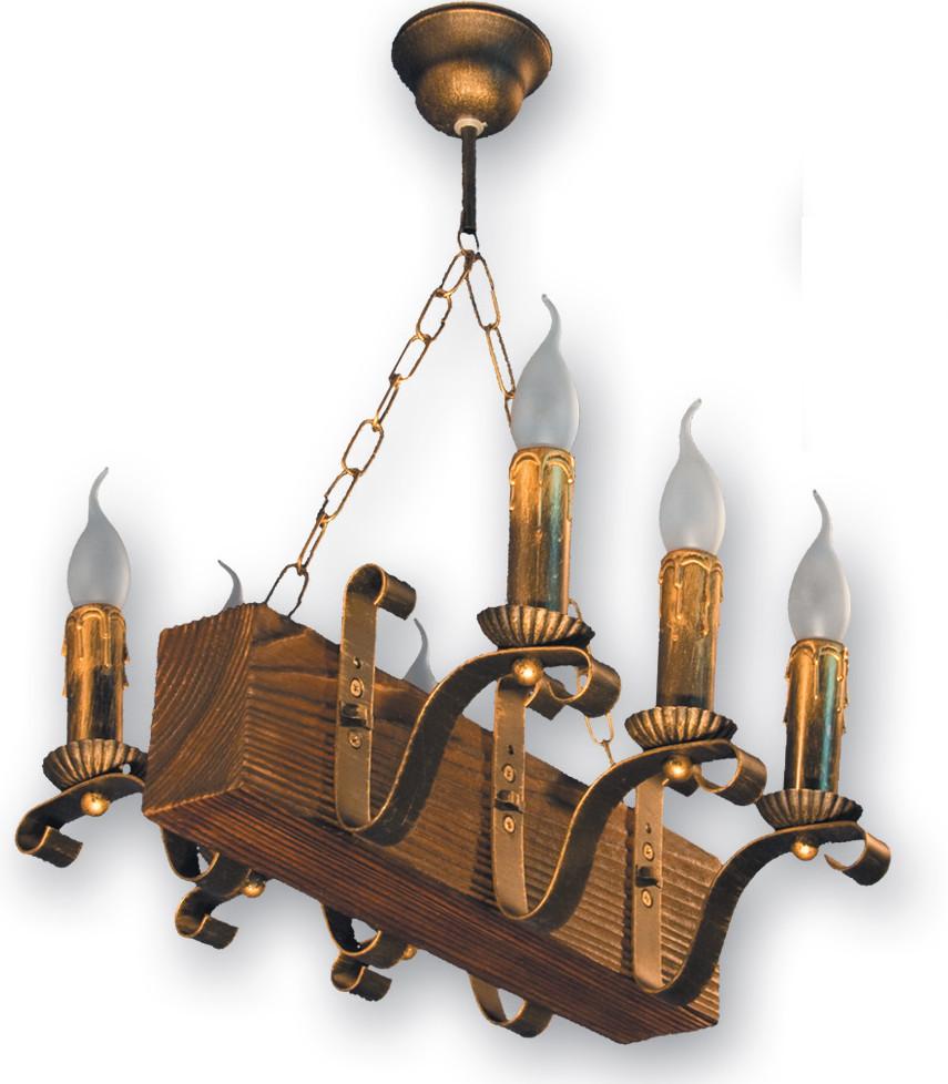 Люстра для кафе деревянная на 6 свечей 130926