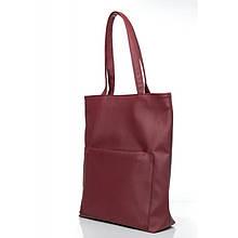 Женская бордовая сумка шоппер с большим карманом на молнии матовая экокожа (качественный кожзам)