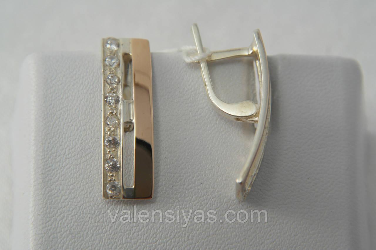 Серьги из серебра 925 с золотом и фианитами