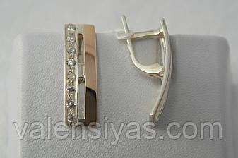 Серьги из серебра 925 с золотом и фианитами, фото 2