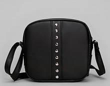 Женская сумка черная кроссбоди с длинным ремешком через плечо матовая экокожа (качественный кожзам)
