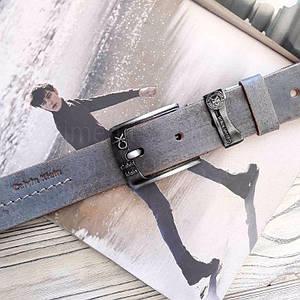 Чоловічий шкіряний ремінь Calvin Klein репліка Сірий