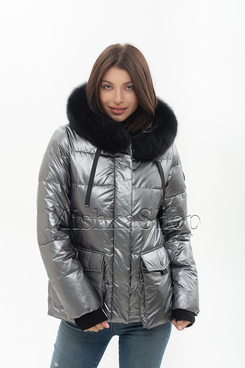 Модный женский пуховик с мехом песца Snow Owl 20A612M цвета металлик