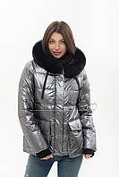 Модный женский пуховик с мехом песца Snow Owl 20A612M цвета металлик, фото 1