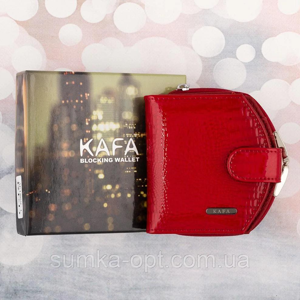 Женские кожаные портмоне KAFA с RFID-защитой  (КРАСНЫЙ ЛАК)10.5*11см
