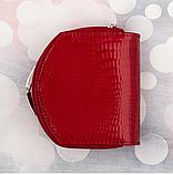 Женские кожаные портмоне KAFA с RFID-защитой  (КРАСНЫЙ ЛАК)10.5*11см, фото 4