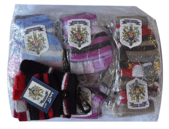 Перчатки - варежки , двойные , шерстяные , в цветную полоску , для детей от 3-6 лет .