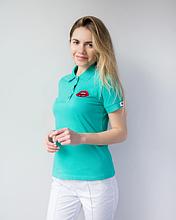 Женская медицинская бирюзовая футболка поло с вышивкой губки S-XL