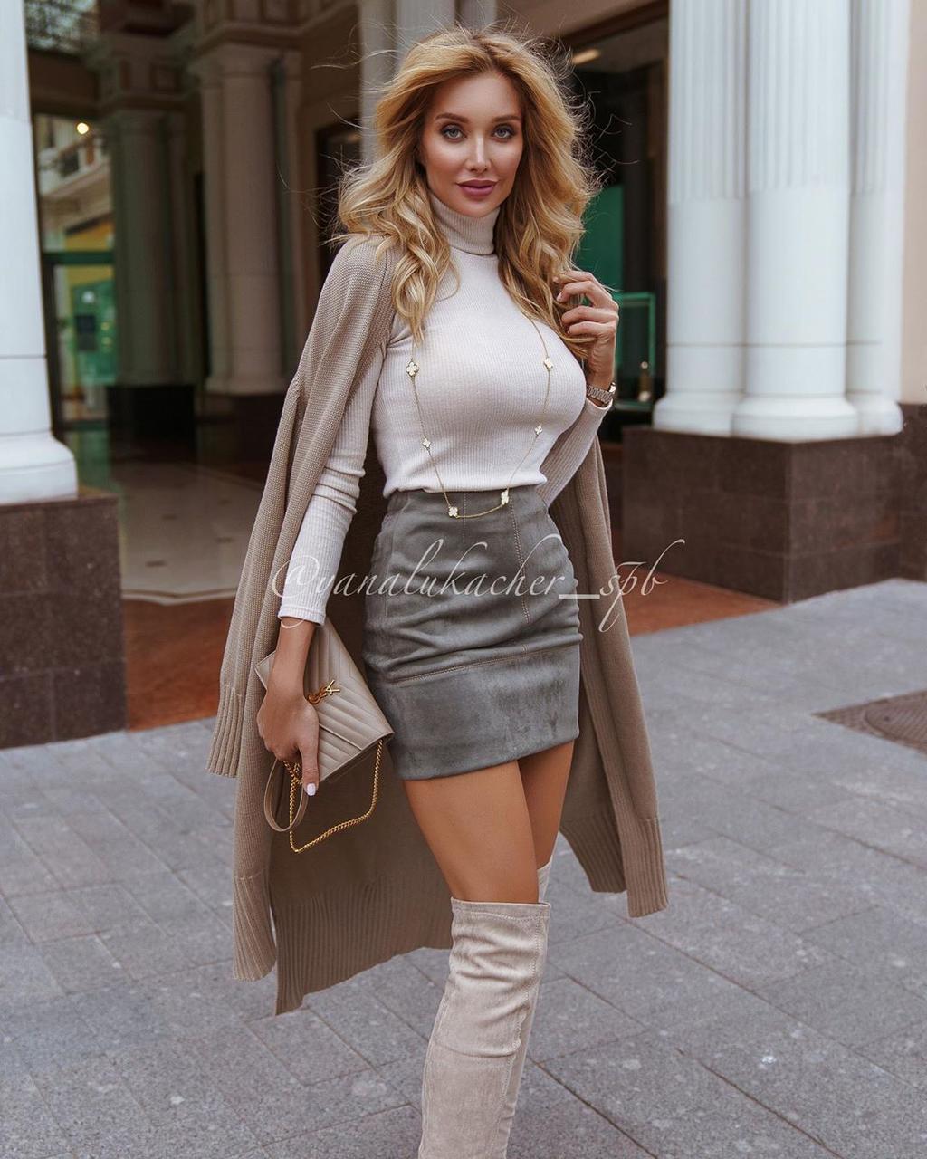 Женская облегающая мини-юбка из замша на давйвинге