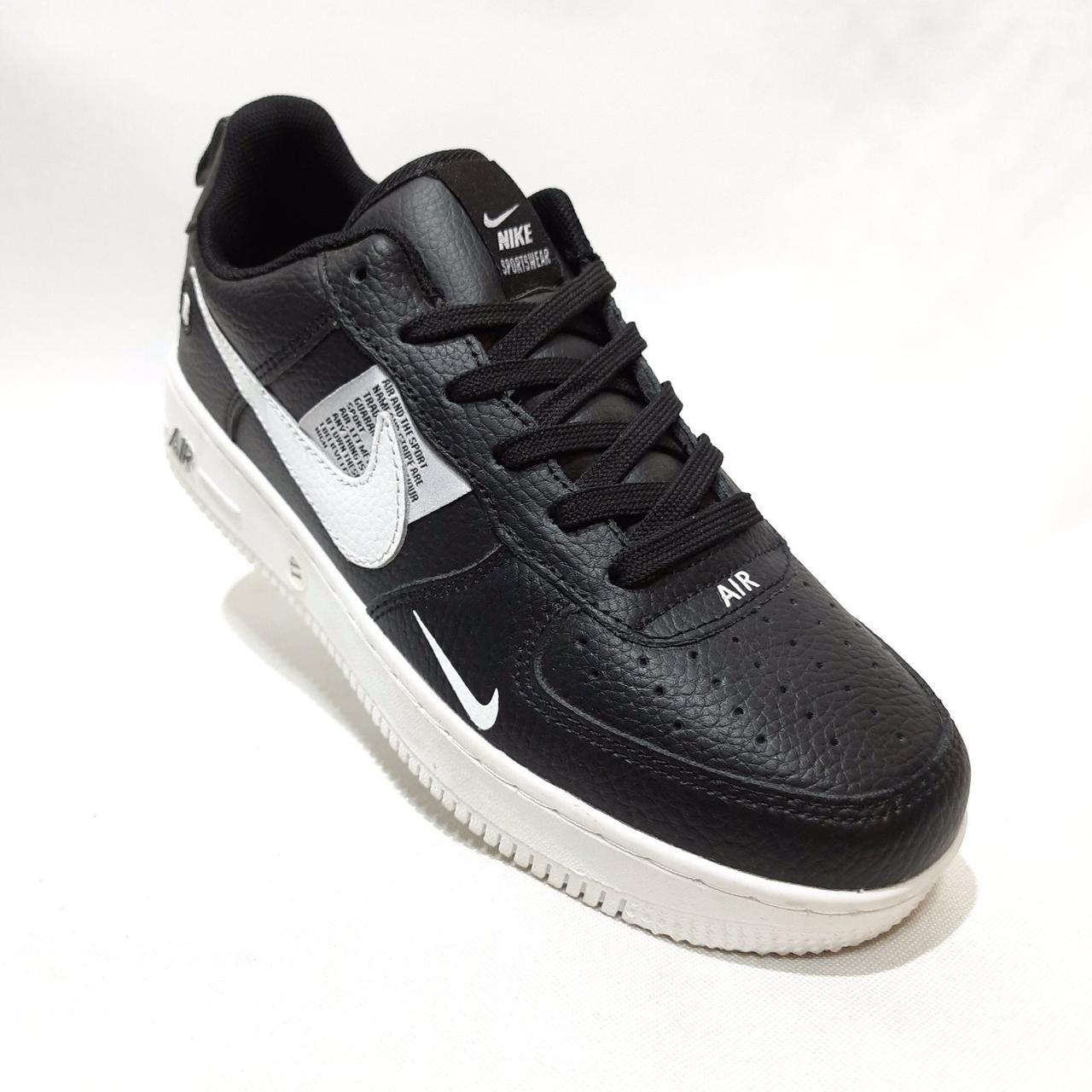 Кроссовки мужские Nike Air Force Red из натуральной кожи Найк  Черные с белым