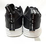 Кроссовки мужские Nike Air Force Red из натуральной кожи Найк  Черные с белым, фото 7