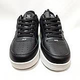 Кроссовки мужские Nike Air Force Red из натуральной кожи Найк  Черные с белым, фото 3