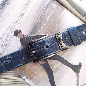 Мужской кожаный ремень Calvin Klein реплика Синий