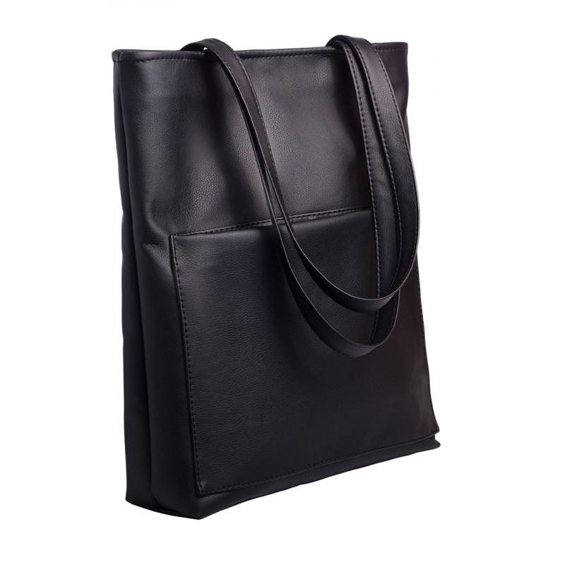 Вместительная женская черная сумка шоппер с большим карманом на молнии и двумя ручками матовая эко-кожа