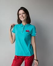 Женская медицинская футболка поло мятного цвета с вышивкой губки S-XL
