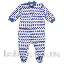 Комбинезон Футер 100% хлопок голубые дольки Рост: 62-74 см