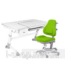 Комплект растущая парта FunDesk Amare Grey с выдвижным  ящиком + ортопедическое кресло FunDesk Bravo, фото 2