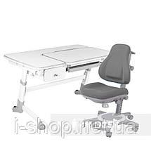 Комплект растущая парта FunDesk Amare Grey с выдвижным  ящиком + ортопедическое кресло FunDesk Bravo, фото 3