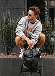 Стильный мужской рюкзак роллтоп черный городской, для ноутбука, повседневный эко-кожа (качественный кожзам), фото 6