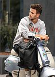 Стильный мужской рюкзак роллтоп черный городской, для ноутбука, повседневный эко-кожа (качественный кожзам), фото 5