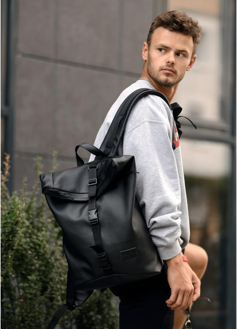 Стильный мужской рюкзак роллтоп черный городской, для ноутбука, повседневный эко-кожа (качественный кожзам)