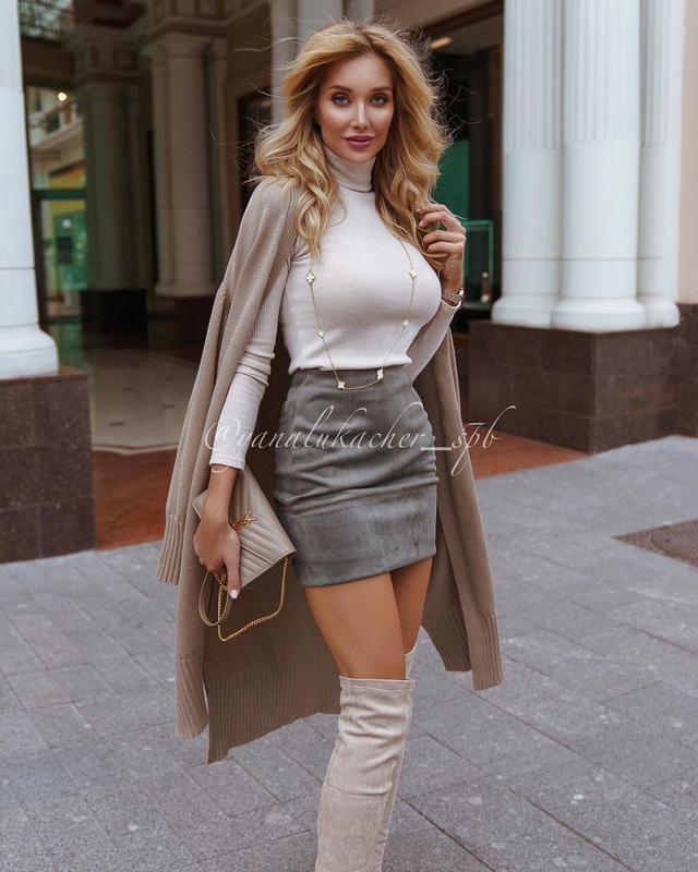 Женская короткая юбка из замша на давйвинге