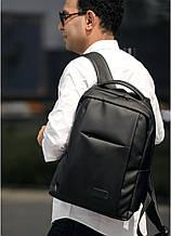 Мужской черный рюкзак классика городской, для ноутбука, матовая эко-кожа (качественный кожзам)
