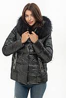 Невероятно красивый пуховик из мягкой блестящей ткани ZLLY 20538 чёрного цвета, фото 1