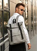 Модный мужской рюкзак роллтоп серый из эко-кожи - качественный кожзам, городской, для ноутбука, повседневный