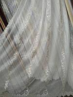 Красива тюль з сірої вишивкою кристалон, фото 1