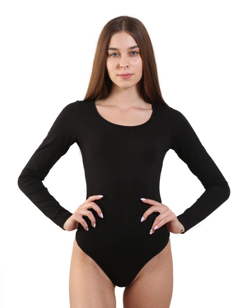 Женское боди-стринг с круглым вырезом (XS-2XL в расцветках) Черный, XS