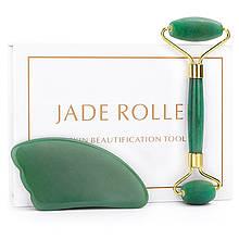 """Ролик и скребок лапка гуаша """"Jade Roller"""" из натурального нефрита (комплект)"""