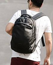 Стильный мужской черный рюкзак классика городской, повседневный матовая эко-кожа - качественный кожзам