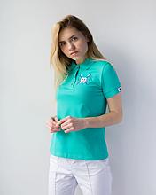 Медицинская бирюзовая женская футболка поло с вышитым зубиком S-XL.