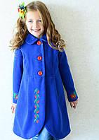 Пальто для девочки синего цвета в украинском стиле, фото 1