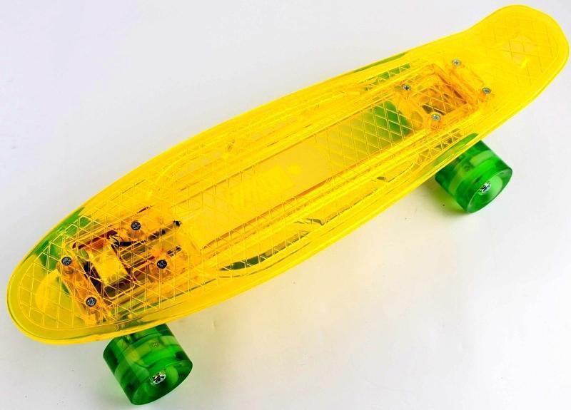 """Прозрачный penny board """"light side"""". Желтый. Дека и колеса светятся! Встроенная батарея!"""