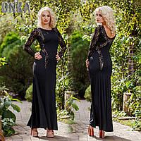 Черное платье в пол с гипюром