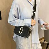 Женская прямоугольная сумка на ремешке рептилия черная, фото 3