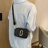 Женская прямоугольная сумка на ремешке рептилия черная, фото 2
