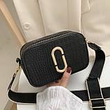 Женская прямоугольная сумка на ремешке рептилия белая, фото 5