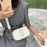 Женская прямоугольная сумка на ремешке рептилия белая, фото 3